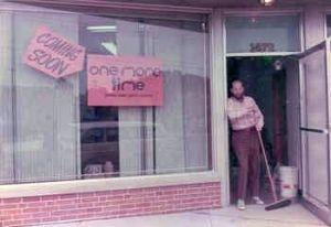 Edwin B. Grauer Jr., in the doorway of one more time, my consignment shop, Columbus OH in 1975