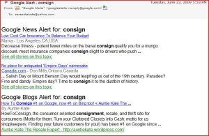 Google Alert folks finding HowToConsign.com