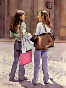 """Conversation"", watercolor by Carolyn Latanision, from copleysociety.org"