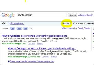 How To Consign is #1 on Google and has been since its inception!