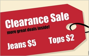 Ckearance time in a consignment shop is bargain time