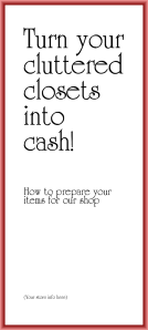 How to Consign (or sell) your underloved items idea brochure from TGtbT.com