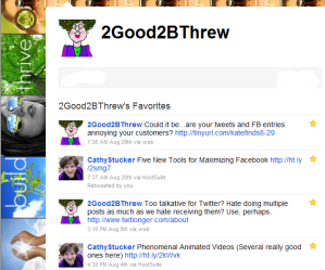 An example of what a Favorites page will look like