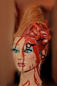 Mannequin head, altered for word of mouth