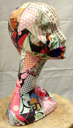 Start small in your consignment shop: decoupage a head!