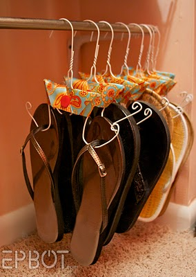Hang your flip flops this way... or show your consignment shop blog readers how to!