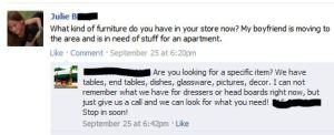 A gift of a question on Facebook, for a consignment, resale or thrift shop