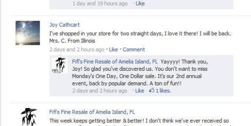 Fifi's Amelia Island uses her Facebook page to increase her shop's visibility