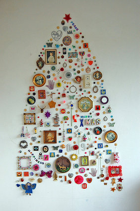 Make a Christmas tree out of the detritus of your consignment, resale, or thrift shop.