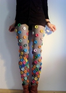 "Button leggings: what a cool ""Pinterest Party"" possibility for your consignment, resale, thrift shop!!!"