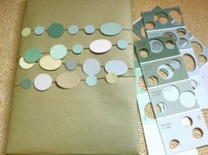 Kraft paper and circle-punched paint cards