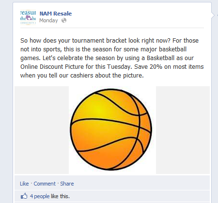 Facebook post of a basketball
