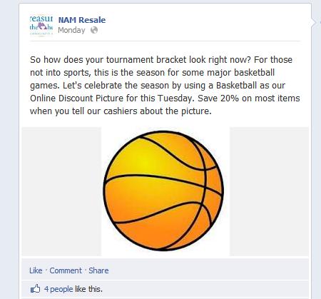 Facebook post of a basketball