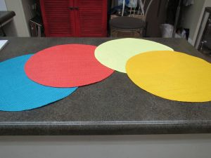 Place mats for a touch of color in your consignment shop