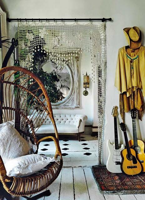 Crochet drape for back room portal