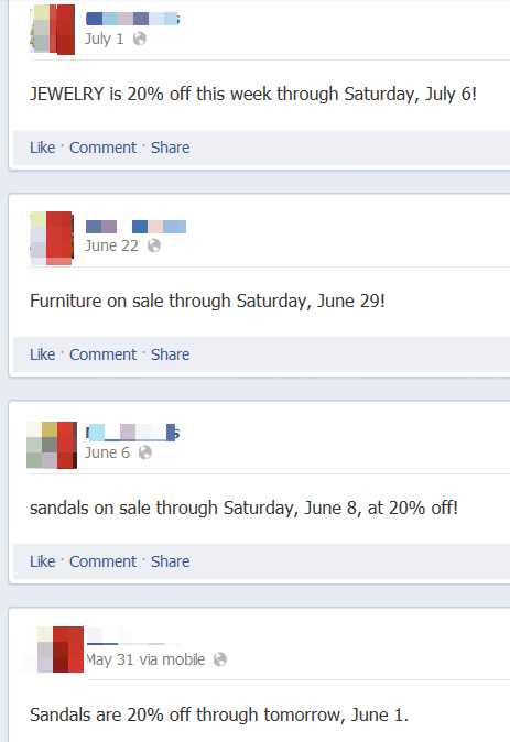 Facebook entries. All just about price.