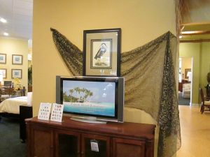 Simple drape of sheer fabric for a resale vignette