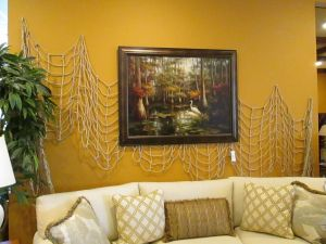 Wall treatment for a resale furniture shop