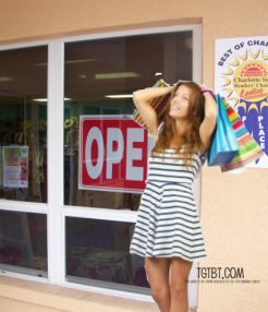 Doin' the Happy Dance in front of my Favorite Consignment Shop!