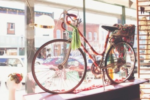 Yarn-bombed bike
