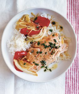 Salmon with Fennel and Red Peppers and Capers!