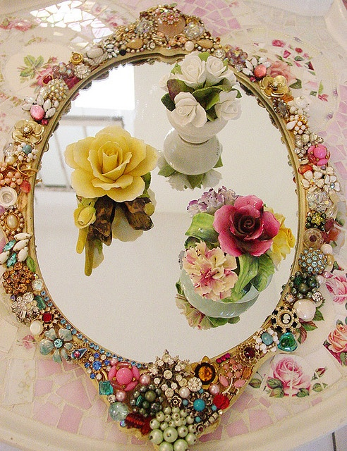Recycle broken jewelry into a grorgeous vanity tray!