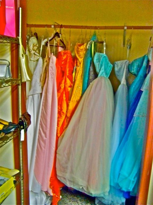 Poor prom dresses, they look so sad.