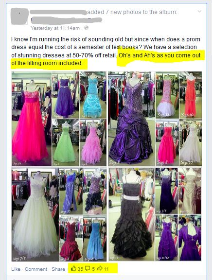 Consignment shop selection of prom dresses. a great example on the AuntieKate.wordpress.com blog