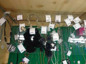 All we can see in this jewelry showcase are the price tags!