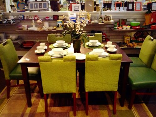 Mid-century dining room furniture in a consignment or resale shop on TGtbT.com's blog.
