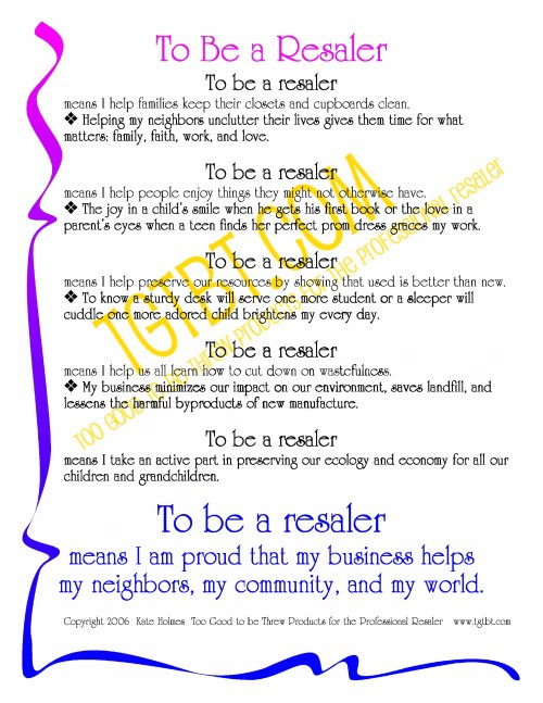 To be a Resaler printable graphic