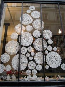 Christmas tree made of paper doilies
