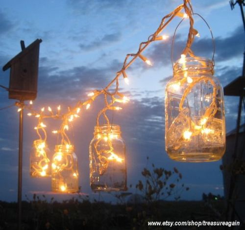 "Twinkle lights in Mason jars would make a terrific ""camping"" display this summer says Kate Holmes of Too Good to be Threw"