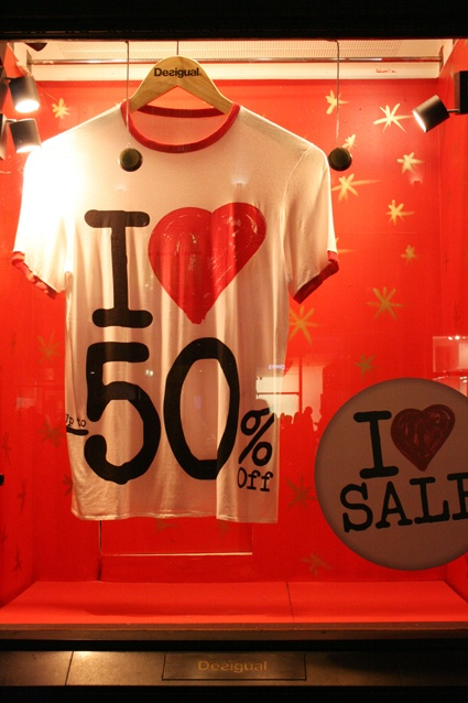 I love 50% off, declare the windows (and the sales staff T's). Too Good to be Threw loves this simple display window for consignment or resale shop seasonal clearance events!