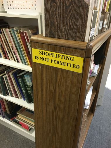 Shoplifting is not Permitted. In case there was any doubt in a shopper's mind, TGtbT.com thinks this is a way to remind them...