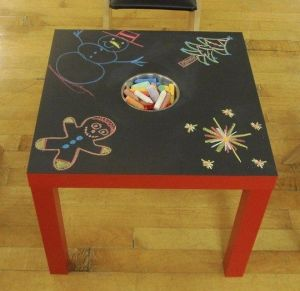 Secondhand coffee table + chalkboard paint = play table!