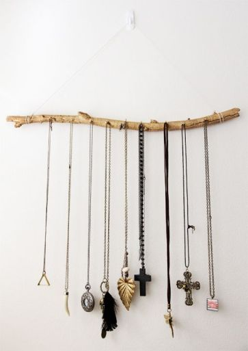 A gatherng of similar necklaces on a simple stick!