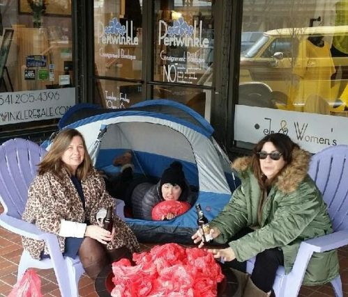 Camping out, waiting for the Red Bag Sale t start. A Kudos from http://TGtbT.blog