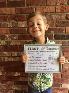 Max Burns, Consignment Child, on his first day of school