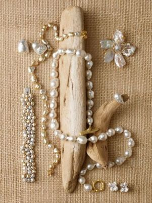 The elegance of resale pearl jwelry against an earthy backdrop says Earthy Elegant!