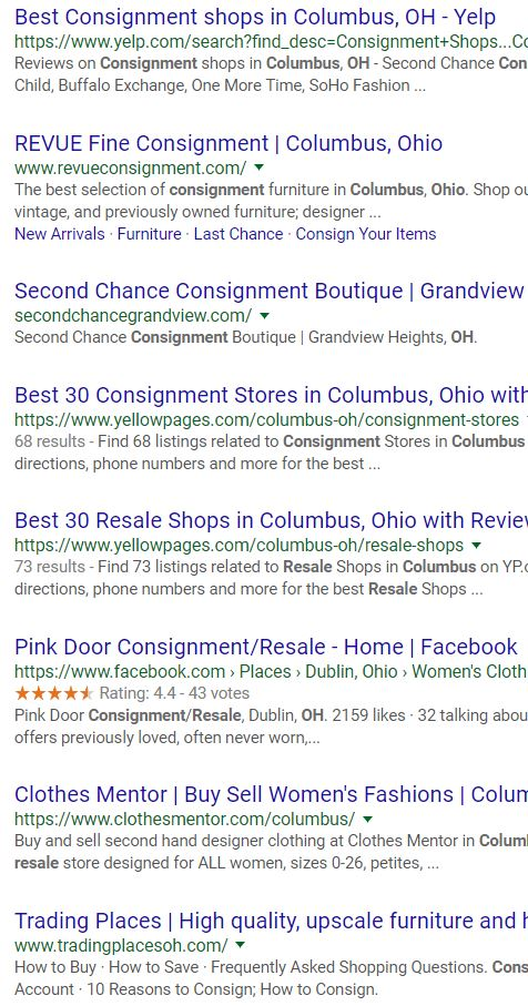Does your consignment web site come up on the first page of search results?