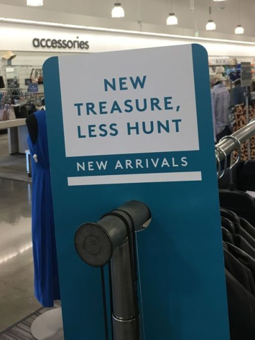 Great sign for your New Arrivals rack, suggests the TGtbT blog at TGtbT.blog