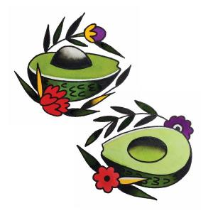 Avocado tattoos, the perfect holiday gift in your consignment shop.