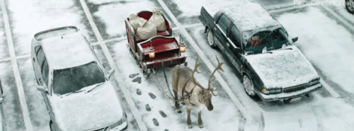Santa's sleigh in the consignment shop parking lot.